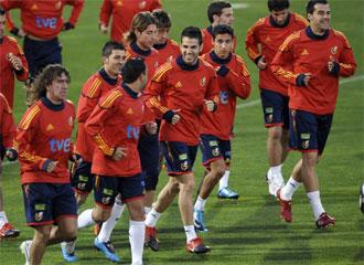 Los jugadores de Espa�a, durante un entrenamiento.