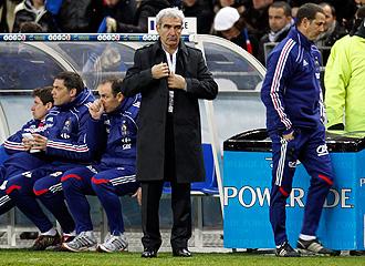 Domenech, en el partido que disput� Francia ante Espa�a en Saint-Denis