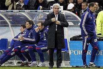 Raymond Domenech, durante un instante del partido ante Espa�a