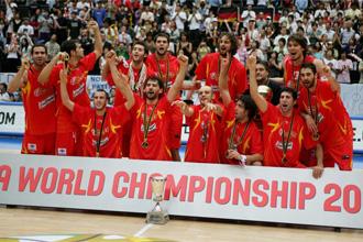 Espa�a, celebrando el t�tulo de Campeones en el Mundial de Jap�n de 2006