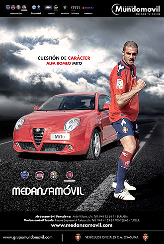 Imagen del anuncio que Pandiani protagoniz� para los veh�culos oficiales de Osasuna
