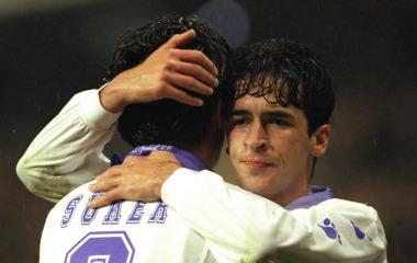 Ra�l y Suker, durante un partido del Madrid