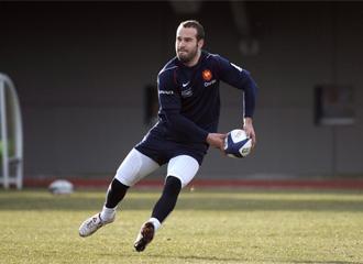 Fredéric Michalak, durante un entrenamiento con la selección francesa