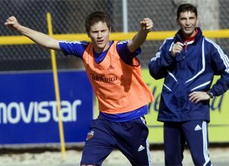 �nder Herrera, en un entrenamiento.