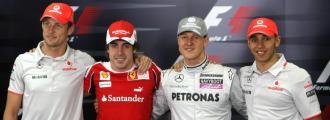 Button, Alonso, Schumacher y Hamilton