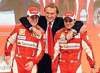 Montezemolo, con Alonso y Massa el d�a de la presentaci�n.