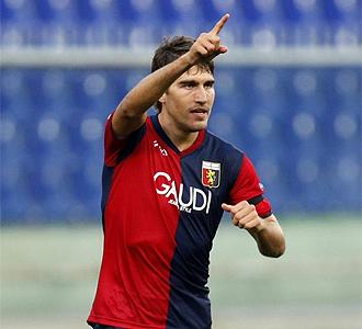 Zapater celebra el gol marcado con el Genoa.