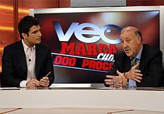 Del Bosque junto a Jaime Collazos en el programa n�mero 1.000 de Veo MARCA.