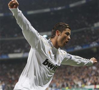 Cristiano celebra el gol ante el Lyon