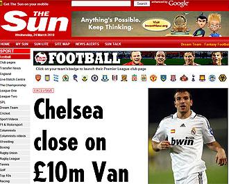 Informaci�n sobre Van der Vaart en el diario 'The Sun'