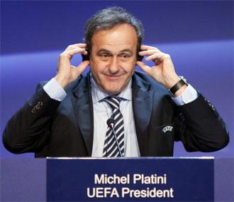 Michel Platini durante el Congreso de la UEFA celebrado en Tel Aviv