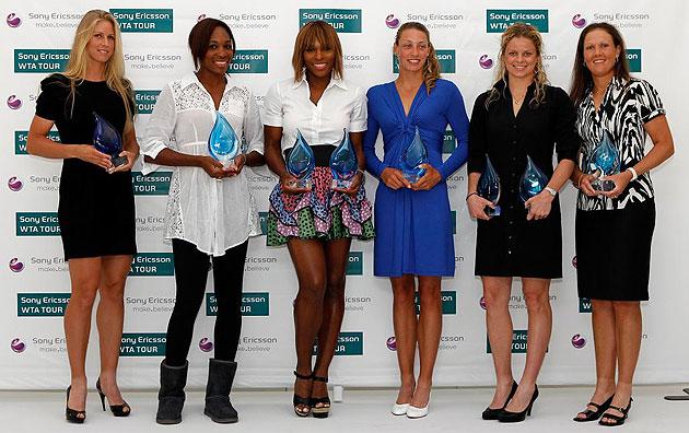Elena Dementieva, Venus Williams, Serena Williams, Yanina Wickmayer, Kim Clijsters y Liezel Huber