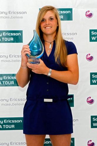 Melanie Oudin, en la entrega de los 'Players Awards' de la WTA en Miami.