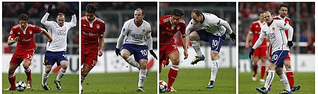 Secuencia de la lesi�n de Rooney. Todo indica que el internacional ingl�s se ha torcido el tobillo solo. (Reuters)