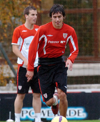 Iturraspe, durante un entrenamiento con el Athletic