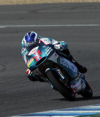 Nico Terol, en los entrenamientos de pretemporada en Jerez