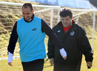 Borja, junto a On�simo, en un entrenamiento del Valladolid