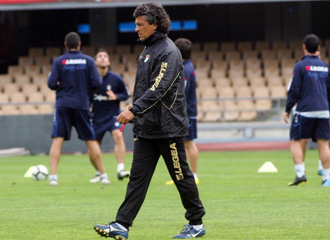 N�stor Gorosito, durante un entrenamiento del club 'azulino'