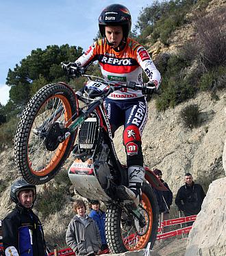 Laia Sanz, durante la prueba en Italia