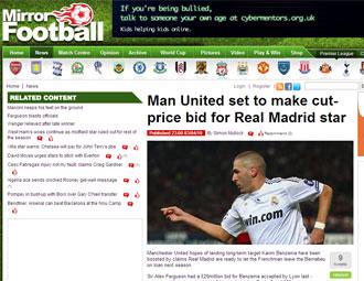 Informaci�n del 'Daily Mirror' sobre Benzema