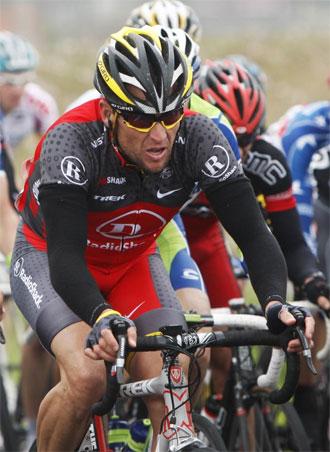 Armstrong durante el Tour de Flandes