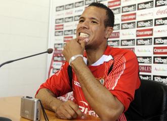 Luis Fabiano en la rueda de prensa de este martes