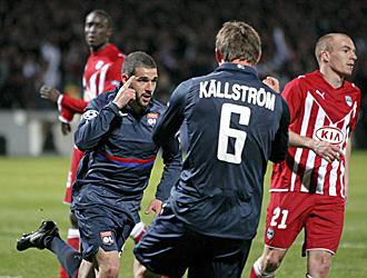Lisandro celebra uno de los goles conseguidos en el partido de ida