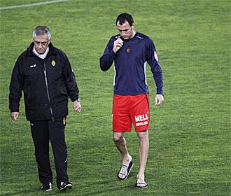 Ramis, junto a Manzano en un entrenamiento del Mallorca.