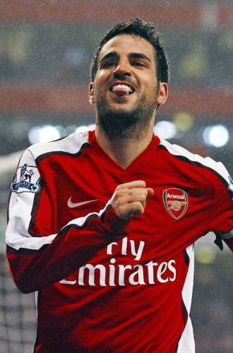 Cesc celebra un tanto del Arsenal.
