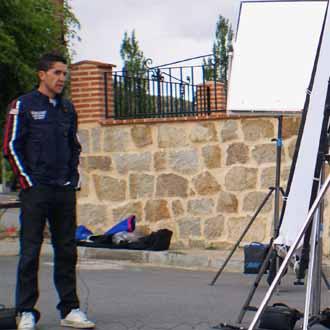 Carlos Sastre durante la grabación del documental en El Barraco (Ávila)
