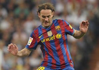 Milito durante el partido contra el Madrid