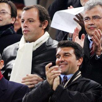 Laporta y Rosell en el palco del Camp Nou