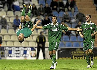 Gilvan celebra un gol el pasado viernes en el Rico P�rez