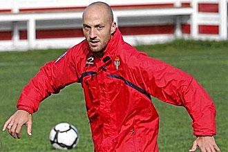 Sergio Matabuena, durante un entrenamiento del Sporting