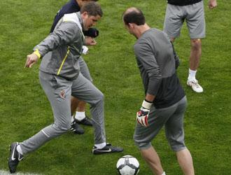 Garrido participa en uno de los ejercicios del entrenamiento