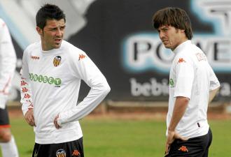 Villa y Silva, en un entrenamiento