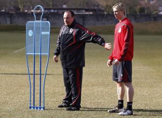 Ben�tez y Torres, durante un entrenamiento