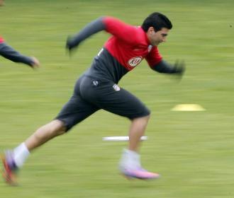 Reyes, en un entrenamiento del Atl�tico.