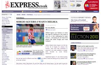 Informaci�n del 'Daily Express' sobre Ag�ero