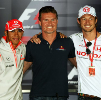 Hamilton, Coulthard y Button en el Gran Premio de Gran Breta�a de 2008