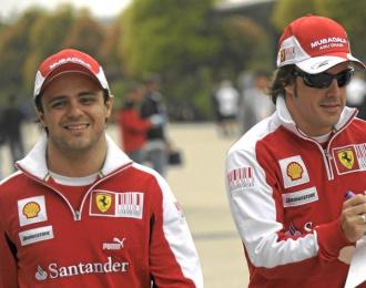 Massa y Alonso durante el pasado Gran Premio de China.