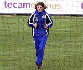 Filipe Luis, en el entrenamiento del Deportivo.