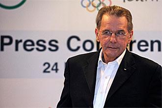 Jacques Rogge, presidente del COI, durante una rueda de prensa