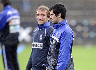 Riesgo junto a Rivas en un entrenamiento de la Real.