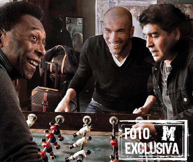 Pel�, Zidane y Maradona posando para Annie Leibovitz en Madrid