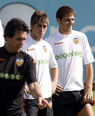 Emery, Pablo y Joaqu�n en una sesi�n de entrenamiento