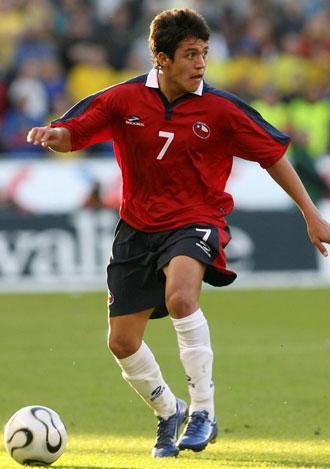 Alexis S�nchez en un partido con la selecci�n chilena