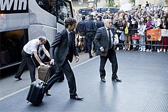 Ra�l, a la llegada del Real Madrid al hotel de concentraci�n en Zaragoza