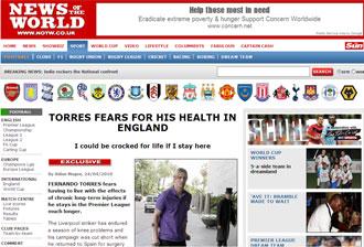 Informaci�n del 'News of the World' sobre Fernando Torres