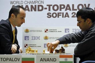 Topalov y Anand disputando el Mundial en Sof�a.